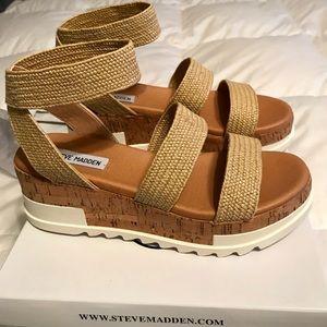 78380932cbb Steve Madden Shoes - Steve Madden Bandi Natural Raffia Wedges